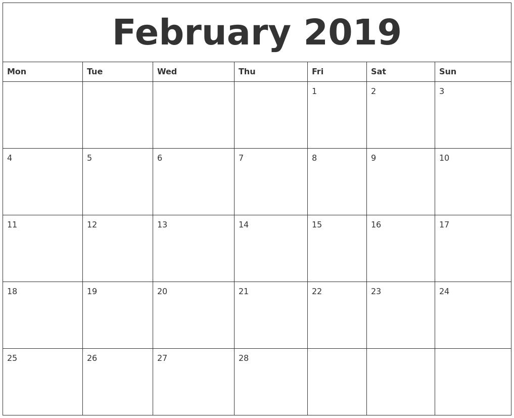 Calendar For February 2019 to Print