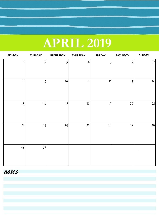 Cute April 2019 Printable Calendar