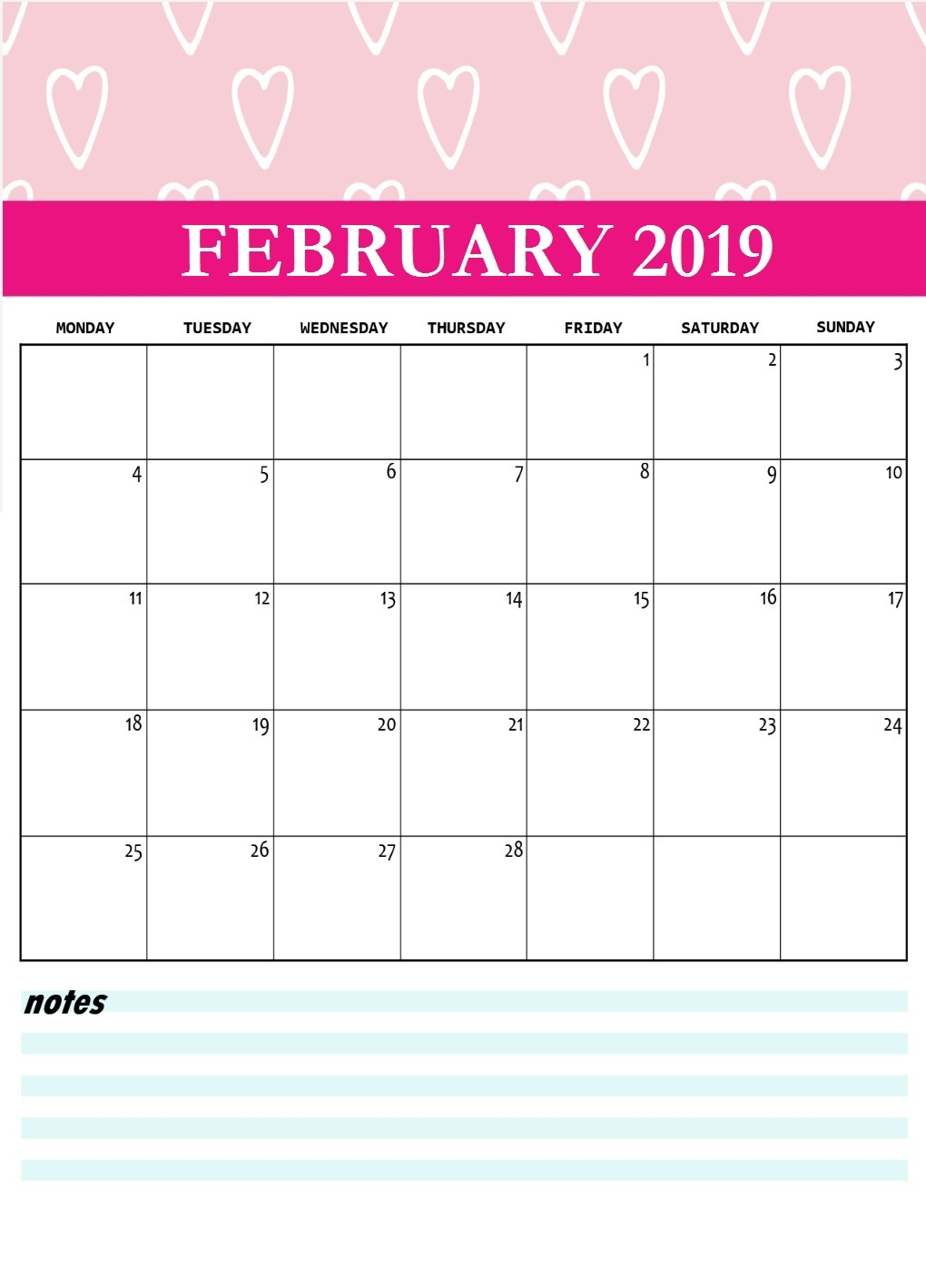 Cute February 2019 Printable Calendar