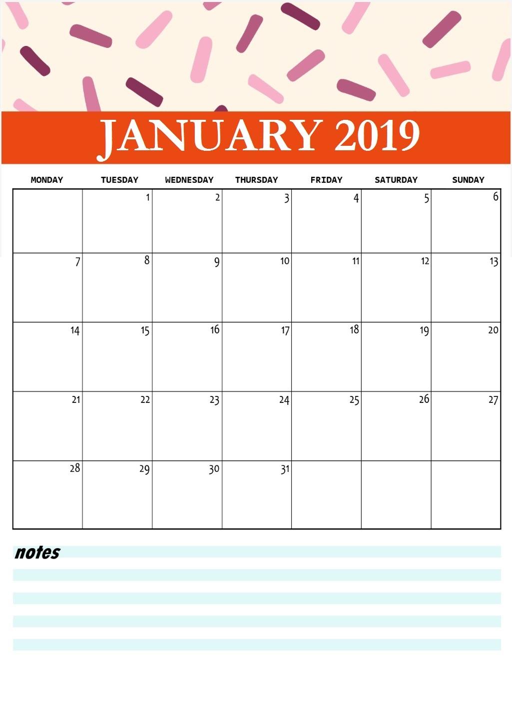 Cute January 2019 Printable Calendar