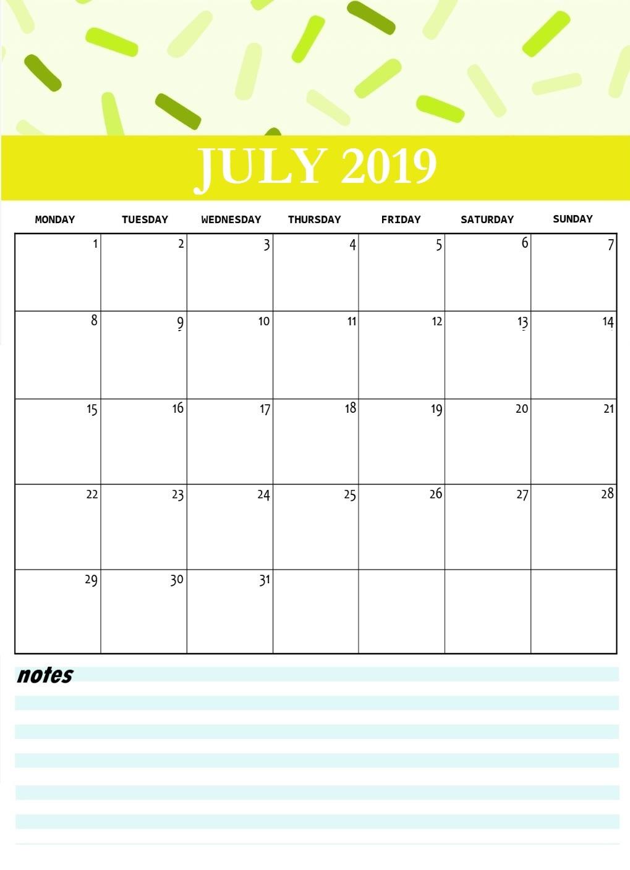 Cute July 2019 Printable Calendar