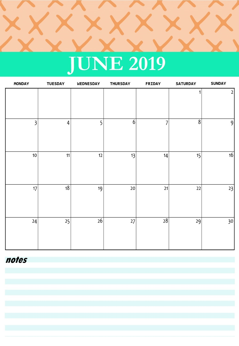 Cute June 2019 Printable Calendar