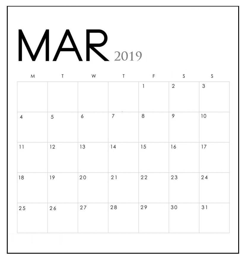 Cute March 2019 Calendar Design
