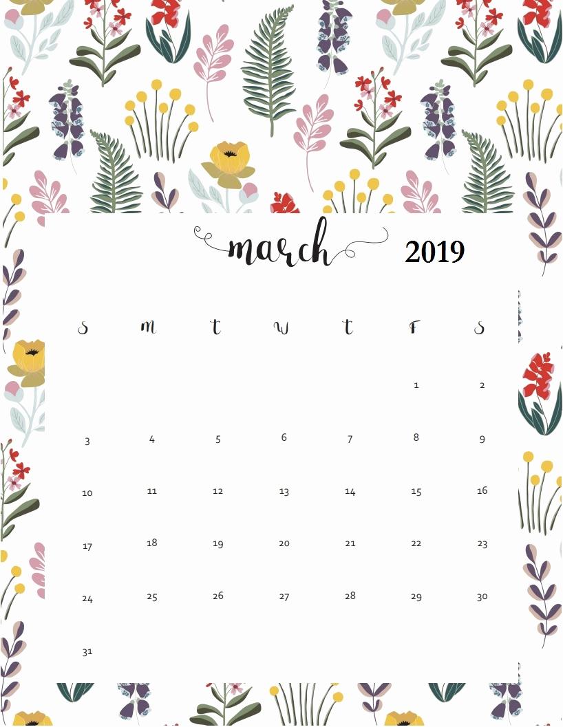 Cute March 2019 Wall Calendar