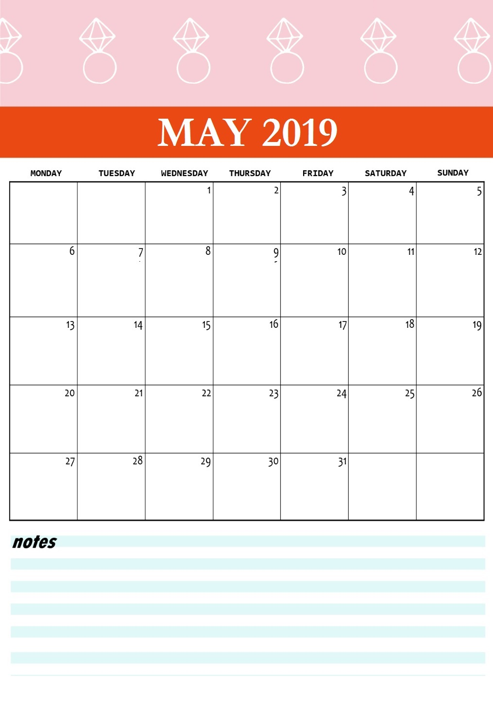 Cute May 2019 Printable Calendar