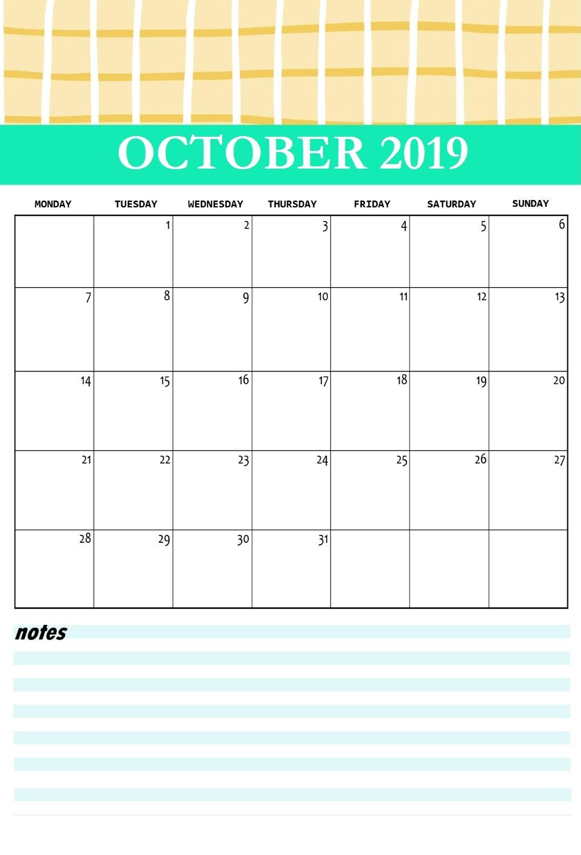 Cute October 2019 Printable Calendar