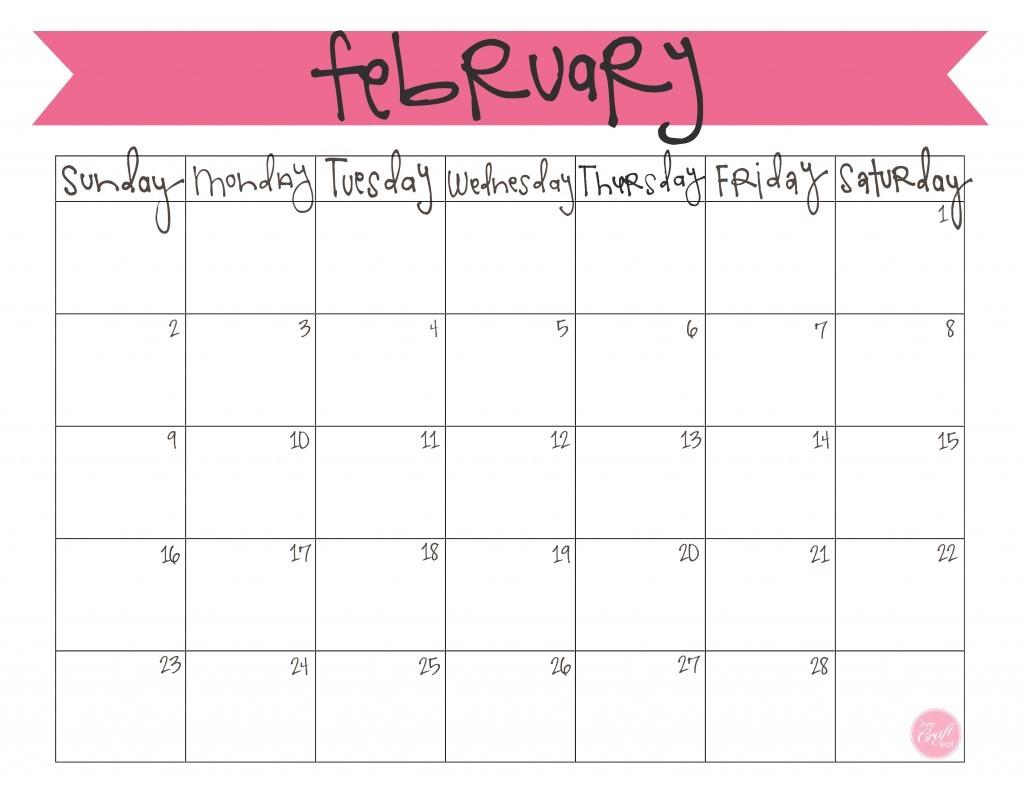 Cute Printable February 2019 Calendar