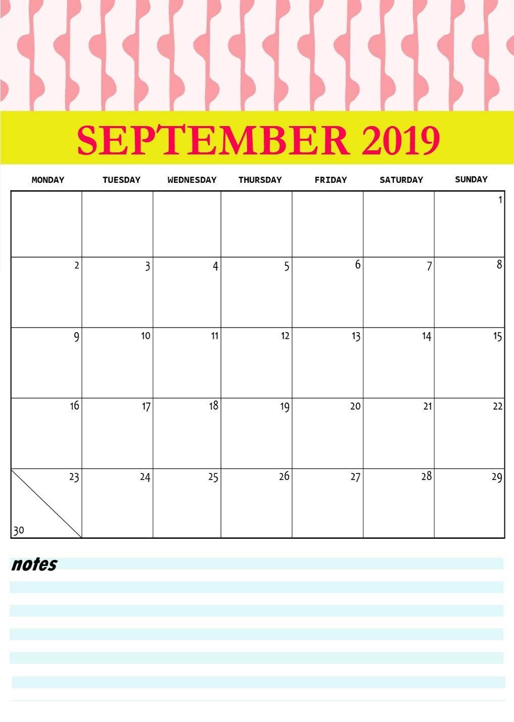 Cute September 2019 Printable Calendar