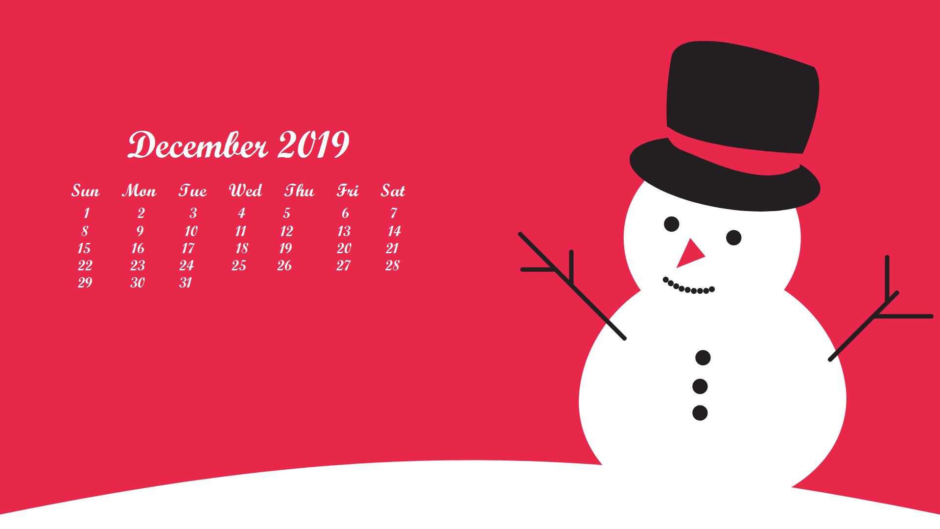 December 2019 Desktop Wallpaper With Calendar