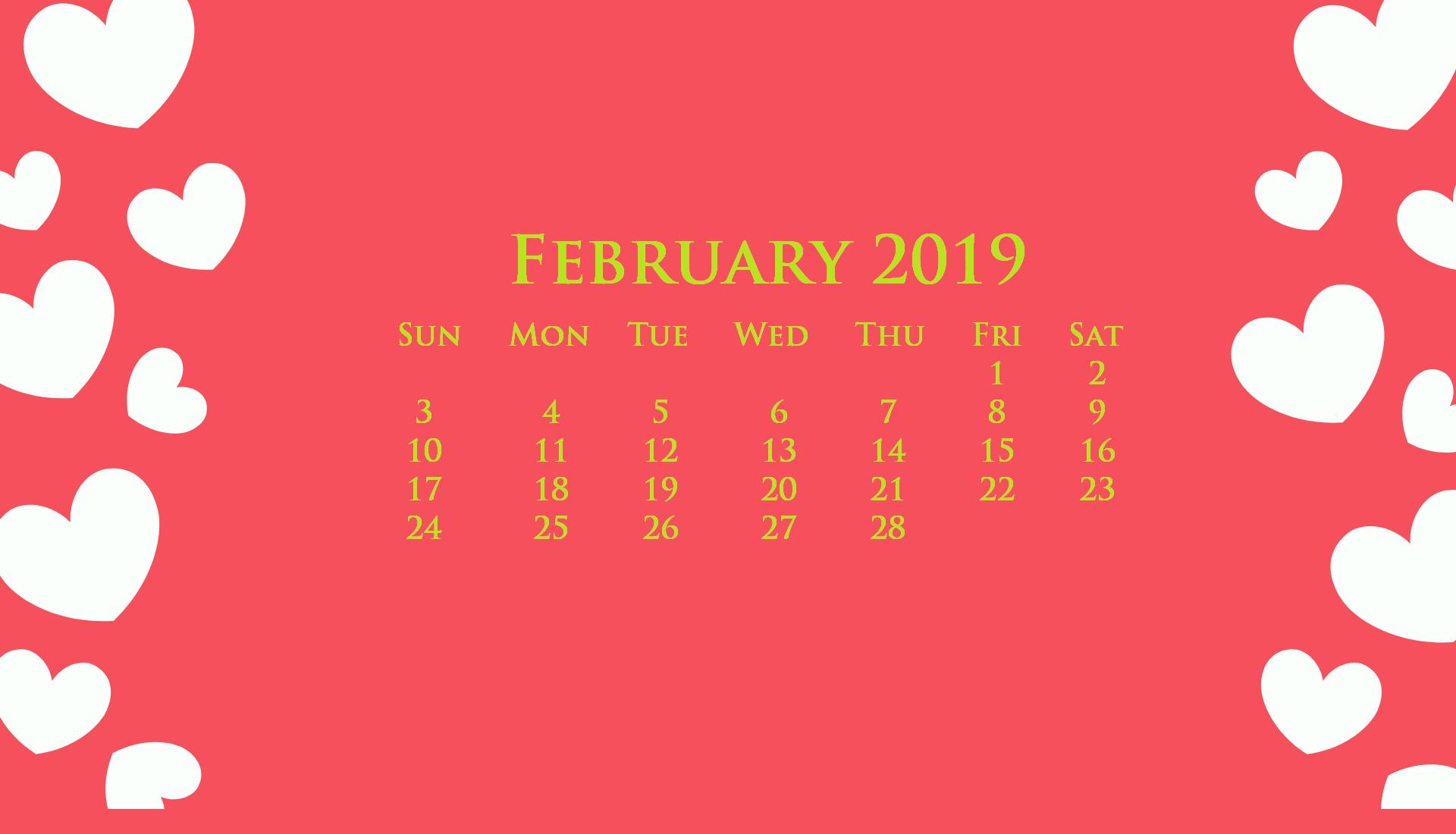 Desktop February 2019 Calendar Wallpaper