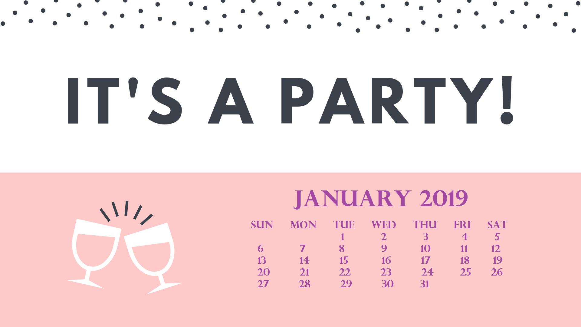 Desktop January 2019 Wallpaper With Calendar