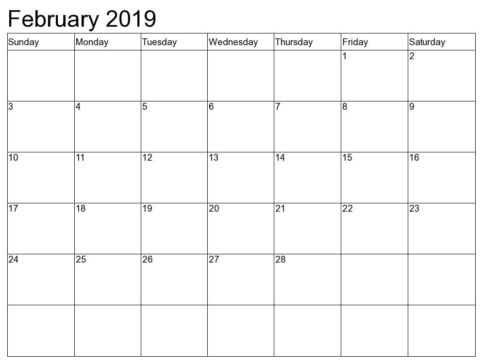 Excel Calendar February 2019