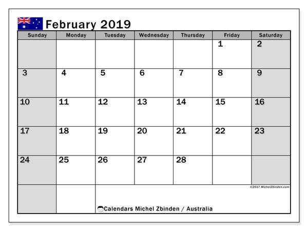 February 2019 Australia Calendar