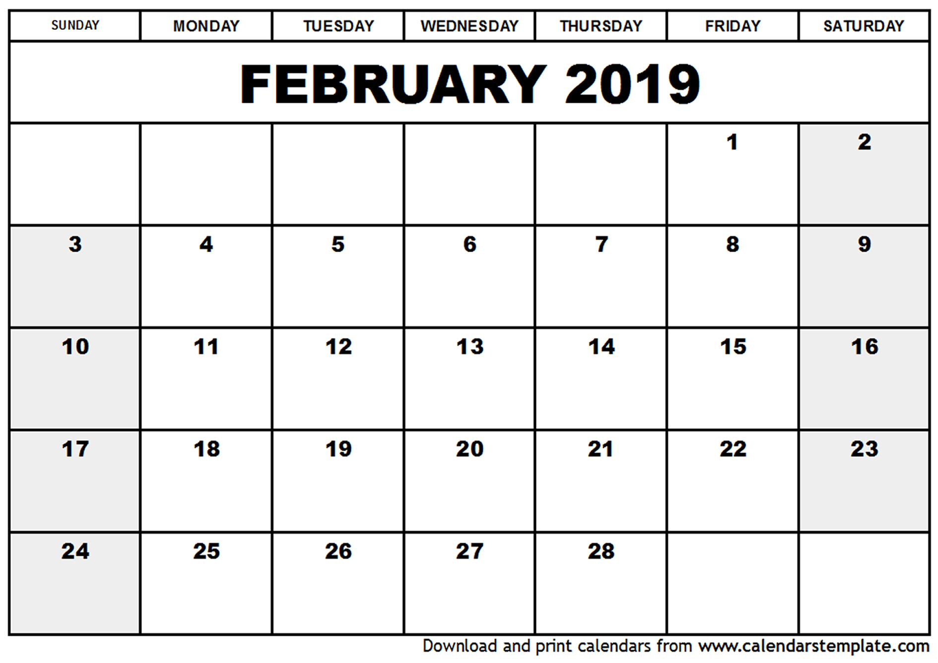February 2019 Blank Calendar Printable Template
