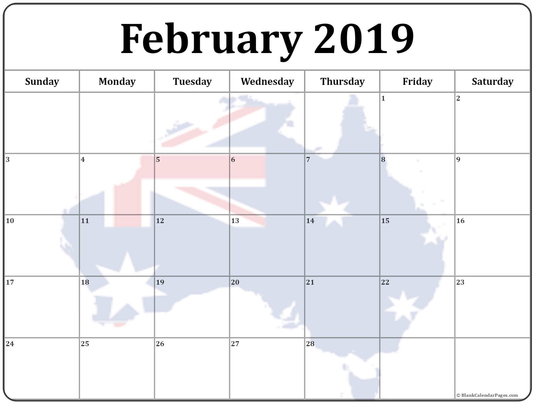 February 2019 Calendar Australia Flag