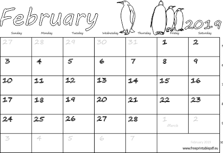 February 2019 Calendar Australia