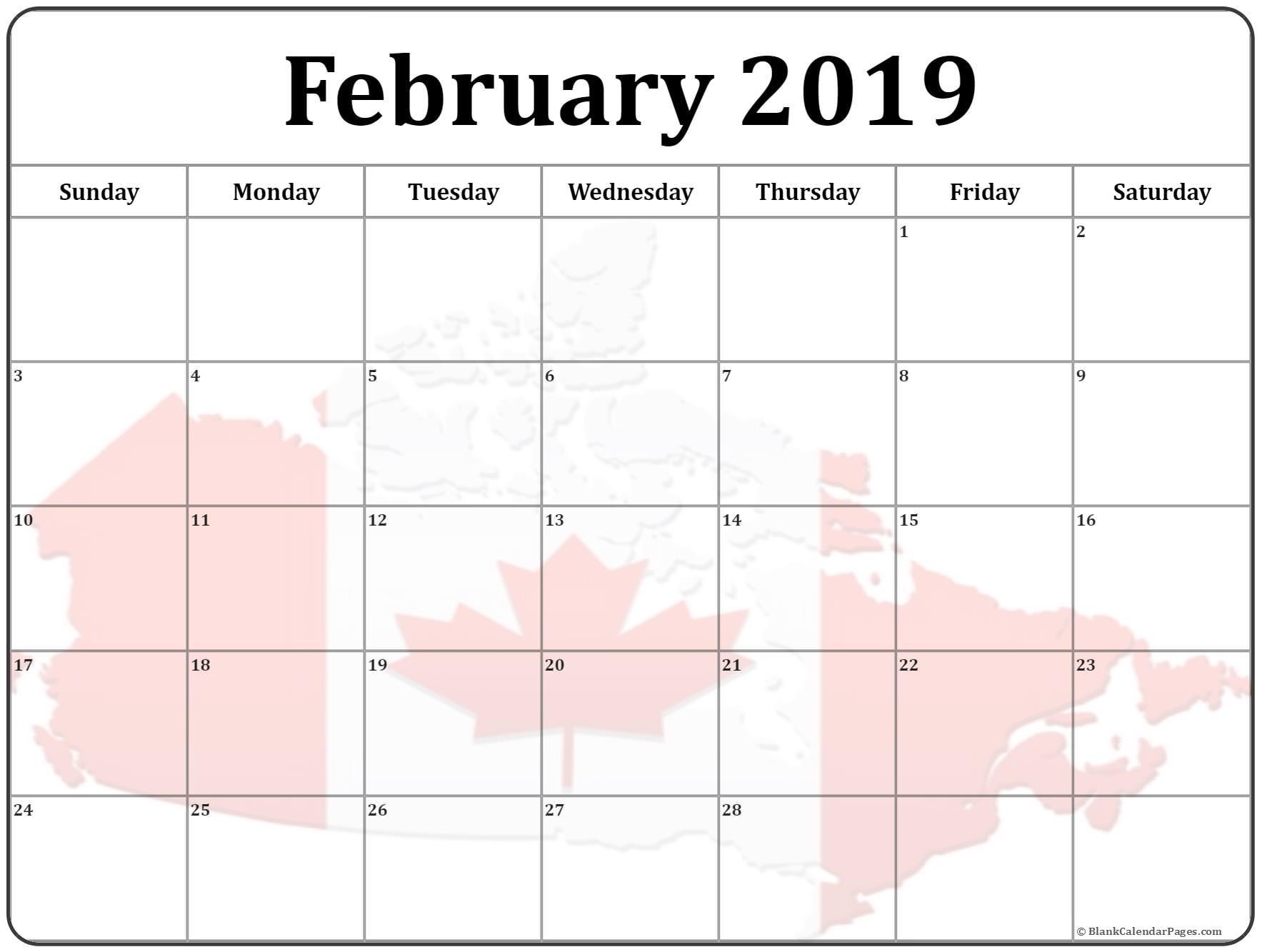 February 2019 Calendar Canada Flag
