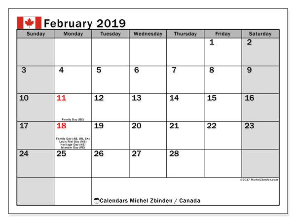 February 2019 Calendar Canada With Holidays