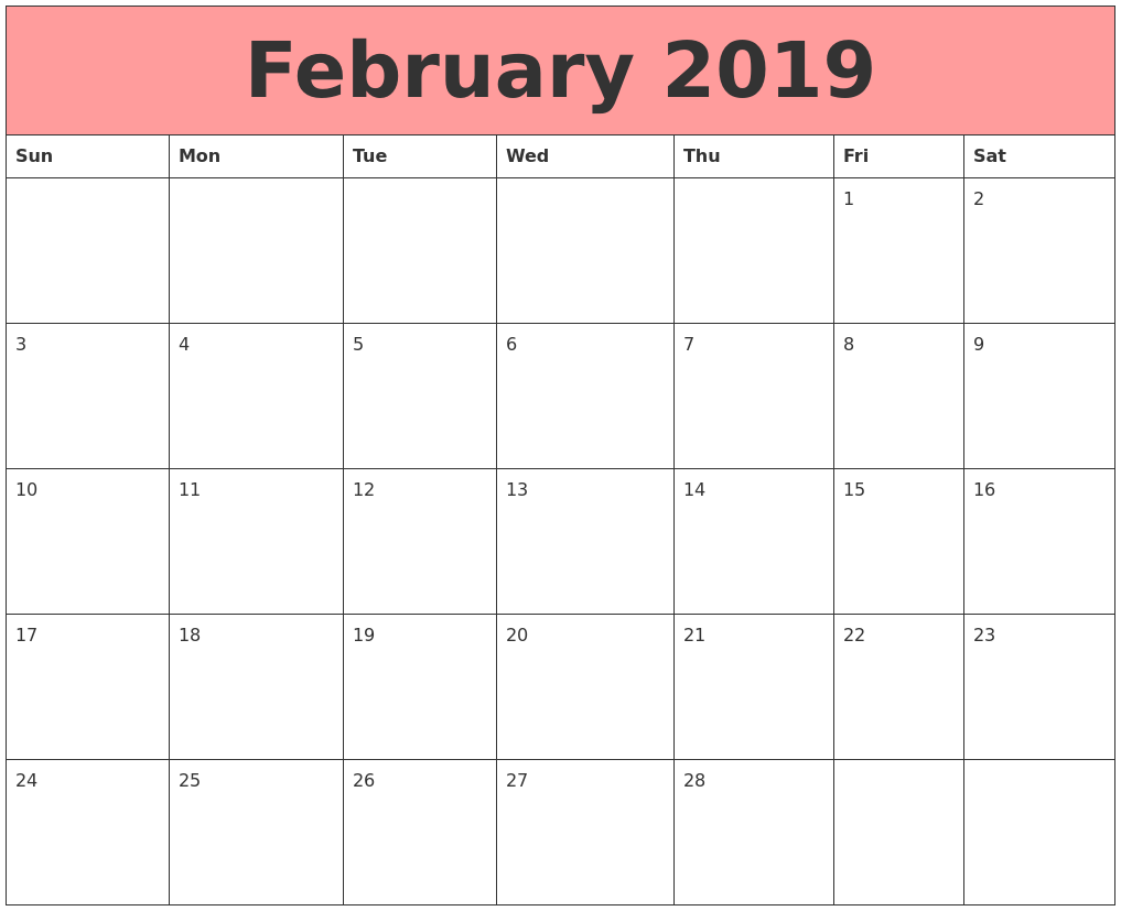 February 2019 Calendar Document PDF