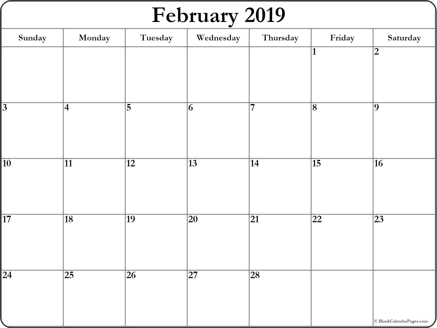February 2019 Calendar Document Word