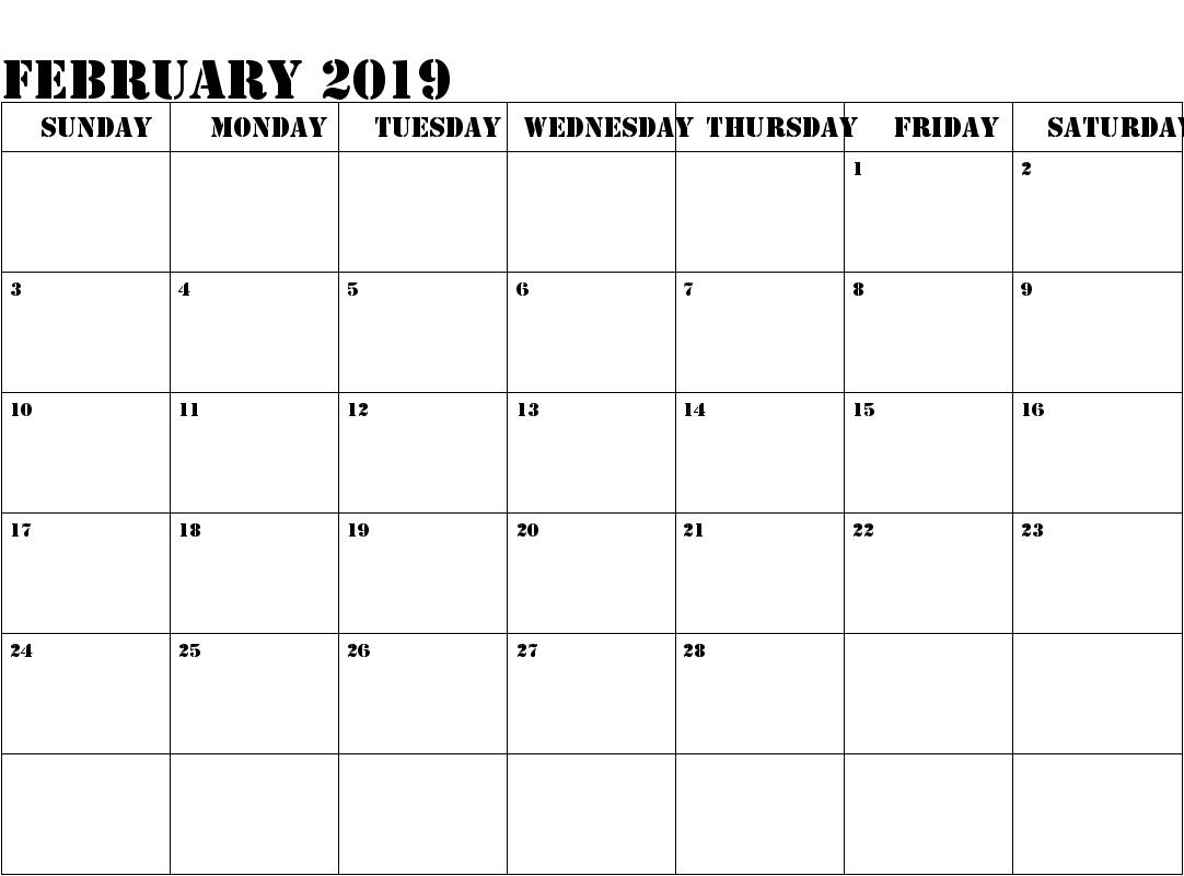 February 2019 Calendar Editable PDF
