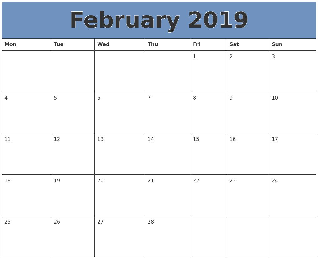 February 2019 Calendar Excel Format