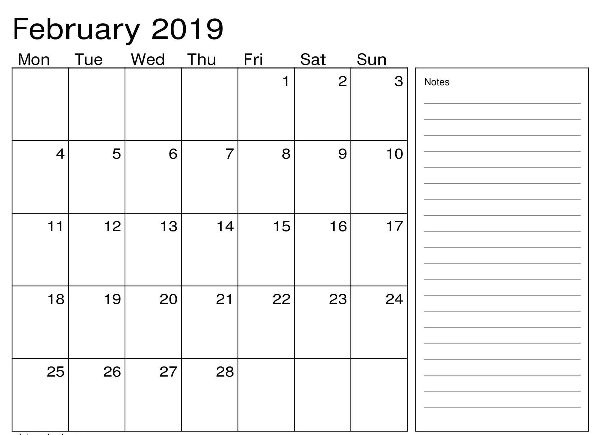 February 2019 Calendar Excel Notes