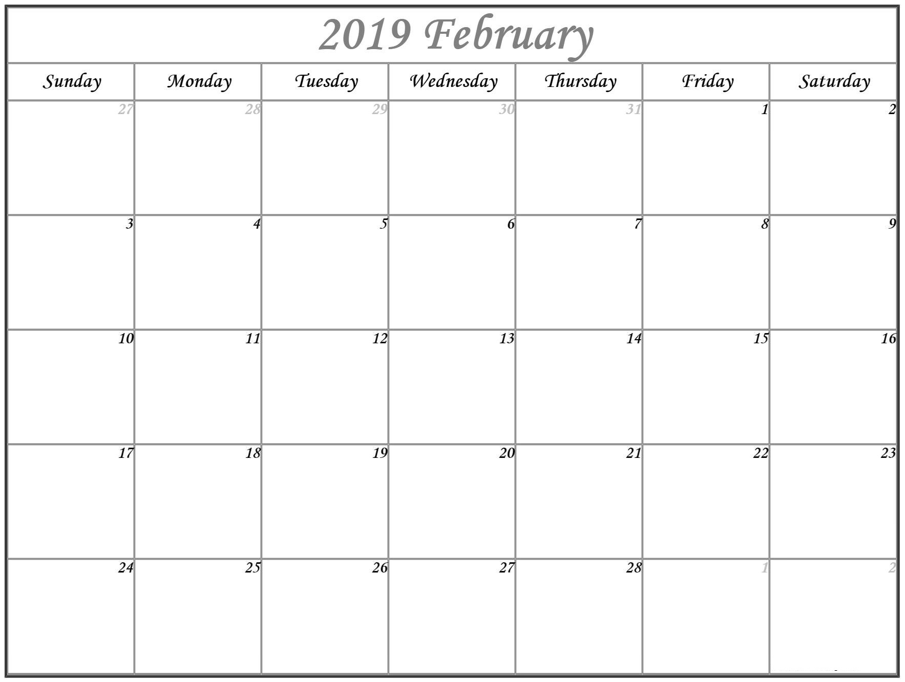 Printable February 2019 Calendar Full Page