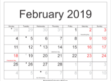 February 2019 Calendar India With Holidays
