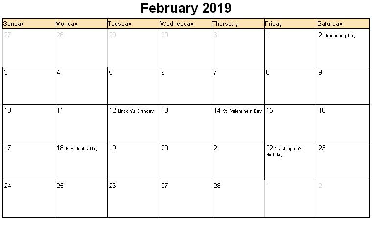 February 2019 Calendar Landscape With Holidays