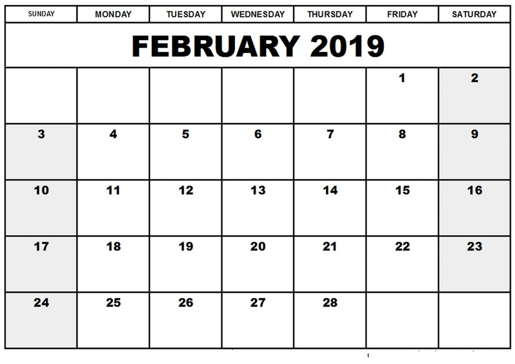 February 2019 Calendar Landscape