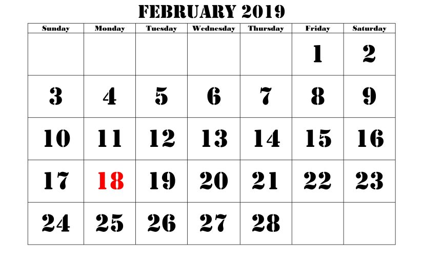 February 2019 Calendar Marathi Printable