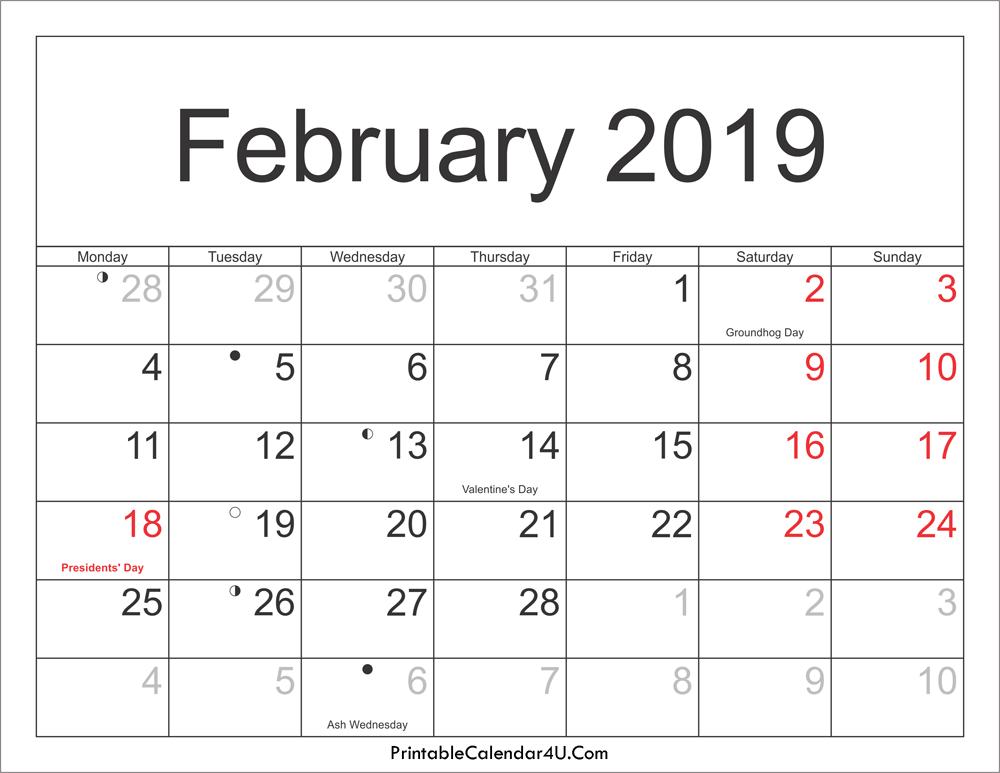 February 2019 Calendar Moon Phases