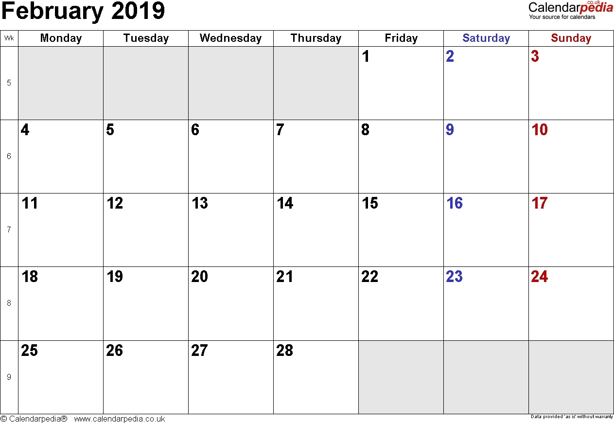 February 2019 Calendar Philippines With Holidays