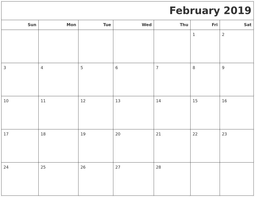 February 2019 Calendar Philippines
