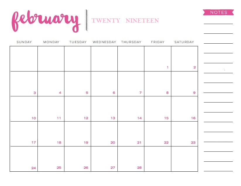 February 2019 Calendar Pink