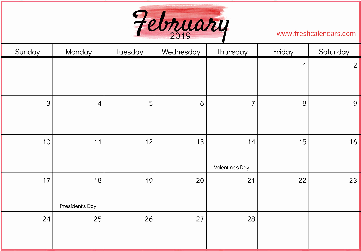 February 2019 Calendar Printable Template With Holidays