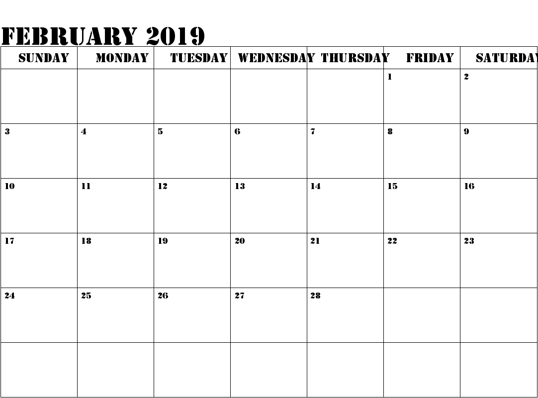 February 2019 Calendar Printable