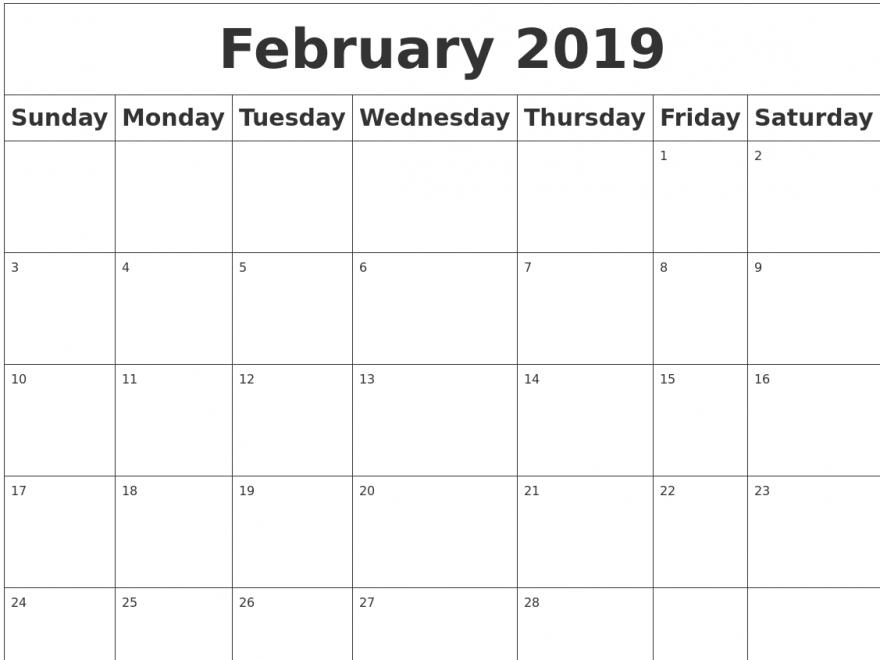 February 2019 Calendar Singapore Printable