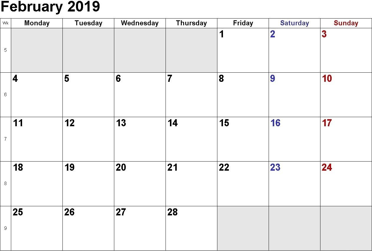 February 2019 Calendar Singapore