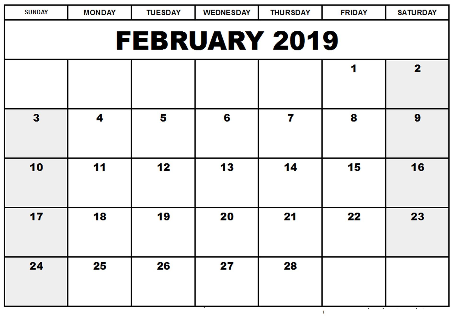 February 2019 Calendar South Africa