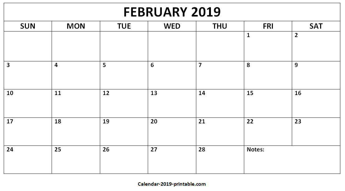 February 2019 Calendar Template Editable