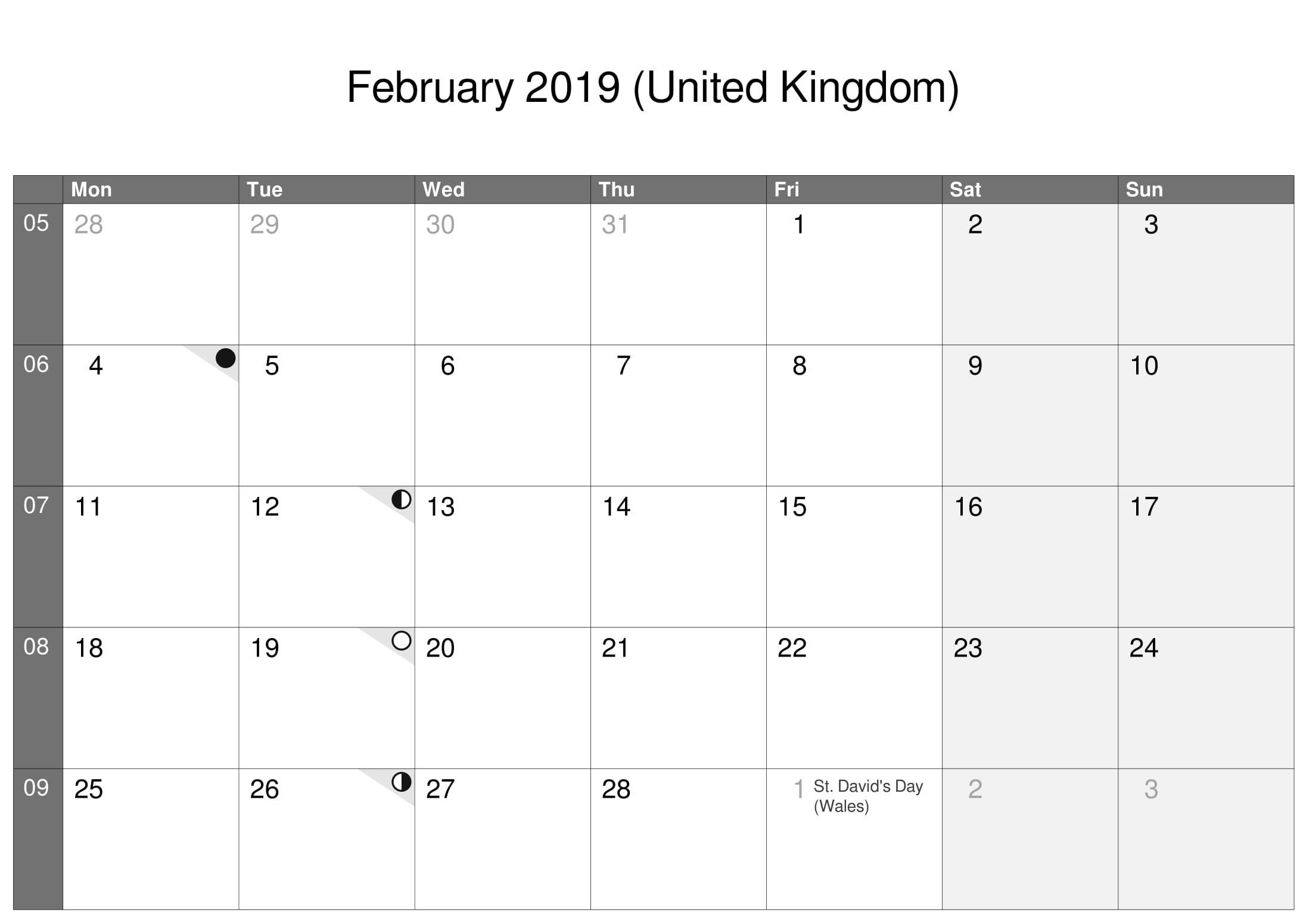 February 2019 Calendar UK With Moon Phases