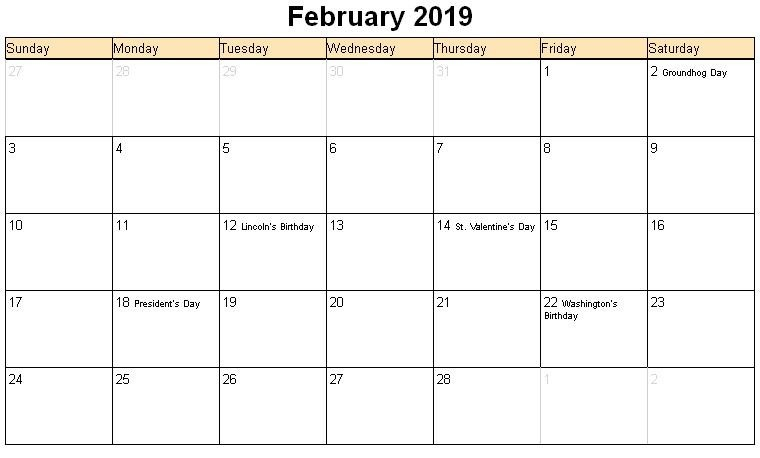 February 2019 Calendar UK With Public Holidays