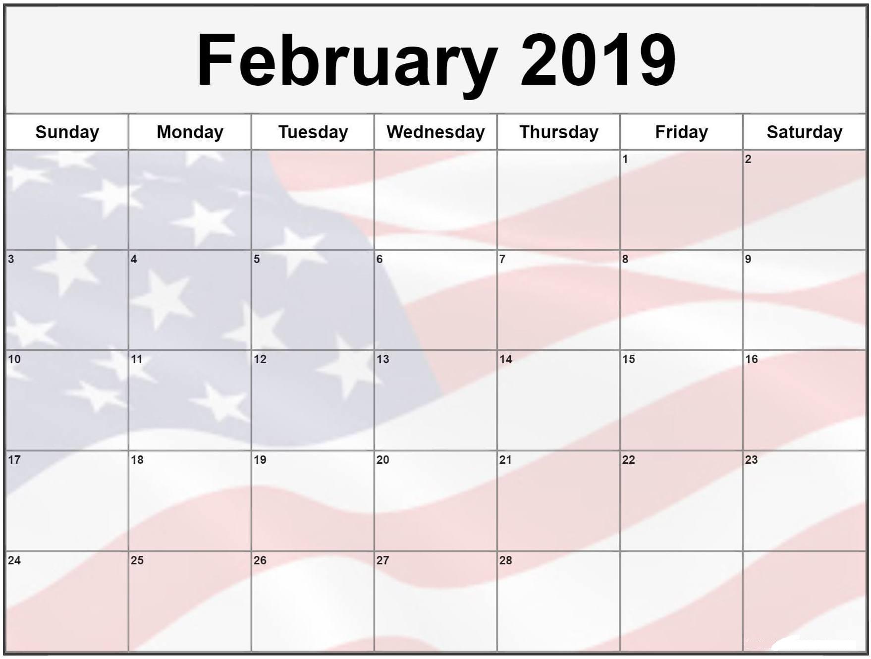 February 2019 Calendar USA Flag