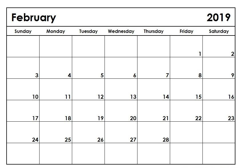 February 2019 Calendar USA Printable