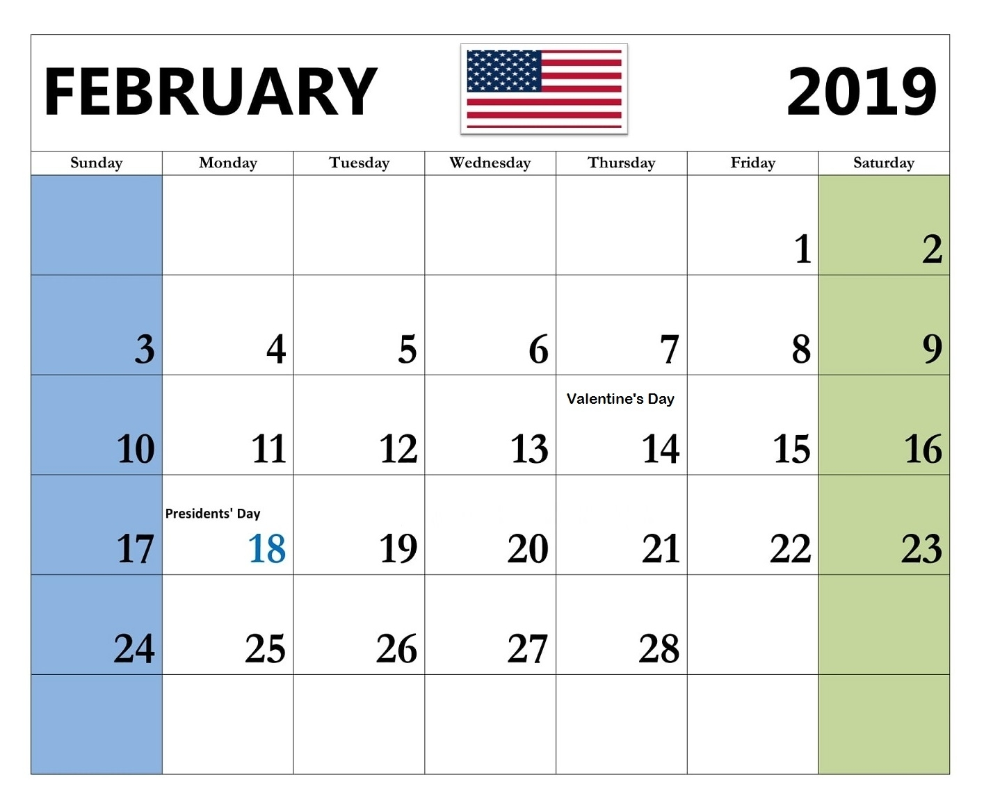 February 2019 Calendar USA With Holidays