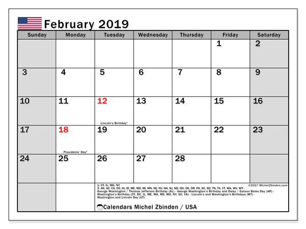 February 2019 Calendar USA