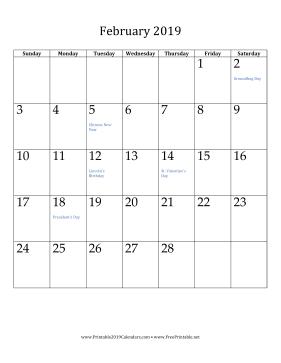 February 2019 Calendar Vertical With Holidays