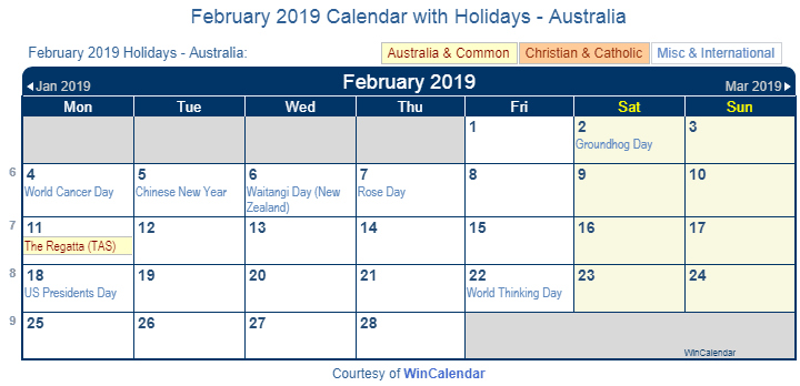 February 2019 Calendar With Holidays Australia